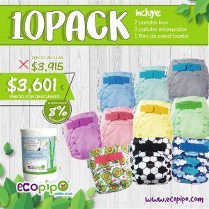 Pañales de tela Ecopipo 10 pack