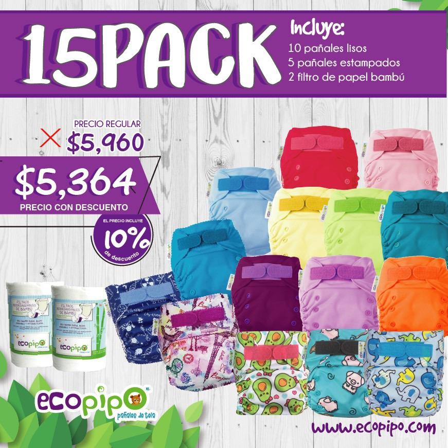 Pañales de tela Ecopipo 15 pack