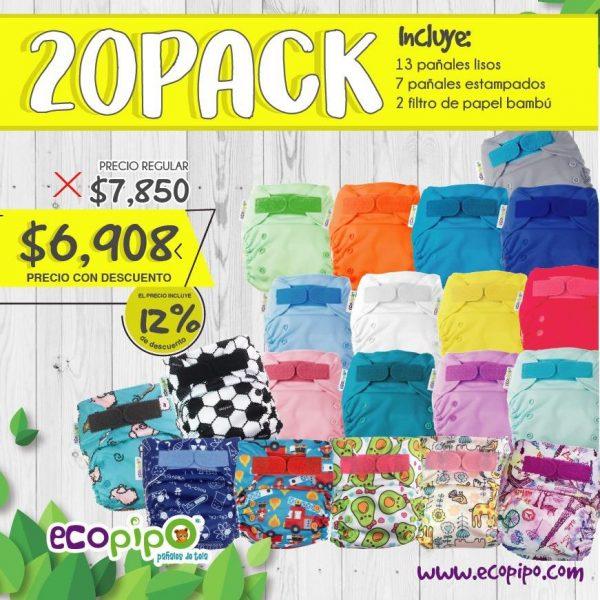 Pañales de tela Ecopipo 20 pack