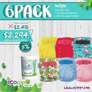 Pañales de tela Ecopipo 6 pack