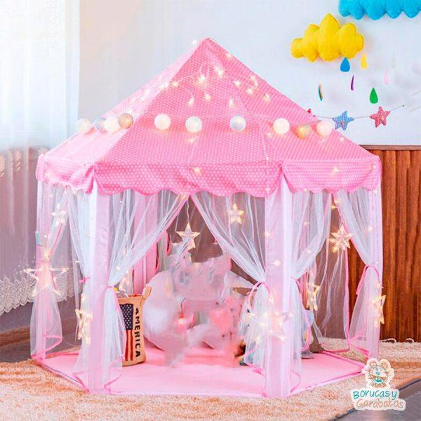 castillo de princesa hexagonal verde rosa